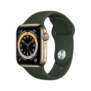 Apple Watch Series 6 (GPS + Cellular) 40mm Edelstahl gold mit Sportarmband zyperngrün