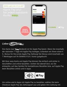 € 5,- Bonus für Ihre erste Apple Pay Zahlung!