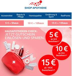 5€/10€/15€ Gutscheine bei Shop Apotheke ab 50€/95€/140€