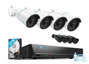 Reolink Überwachungskamera Komplett-Set. Plug and Play. 4x 5MP Kamera, intelligente Erkennung, 30m Nachtsicht + 2TB Rekorder; RLK8-510B4-A