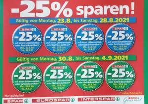 -25% Aufkleber für Spar. Interspar, Eurospar und Gourmet Spar