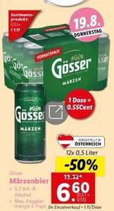 Gösser Dosenbier 12×0,5l um 6,60 (Dose= 0,55) bei Lidl