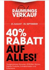 Räumungsverkauf: 40% Rabatt auf Vieles im Gamestop Westbahnhof (Wien) und im Gamestop City Arkaden Klagenfurt (Kärnten)