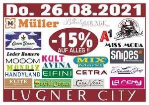 15% Rabatt auf ALLES in 22 Shops der Lugner City inkl. Müller