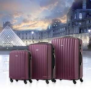 Flashsale TOMSHOO 3 Piece Luggage Set-Purplish Red