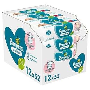 4x Pampers Sensitive Baby Feuchttücher, 624 Tücher (12 x 52)