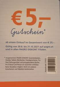 Pagro € 5 Rabatt ab einem Einkauf von € 20,-
