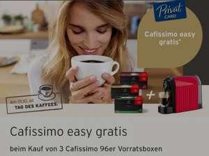 Beim Kauf von 3 Caffissimo Vorratskapseln (á 96 Kapseln) gibt es die Caffissimo easy Kapselmaschine gratis