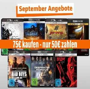 Amazon Aktion: 4K Filme im Wert von 75€ kaufen und nur 50€ bezahlen.