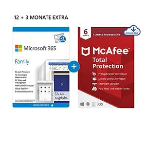 Microsoft 365 Family 12+3 Monate Abonnement (6 Nutzer) + McAfee Total Protection 2020/NORTON 360 Deluxe für 12 Monate