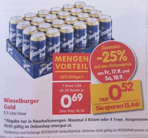 -25% auf alle Biere (Preisbeispiel Wieselburger Gold 0,5l Dose) bei Spar, Eurospar u. Interspar am 17. und 18.9.