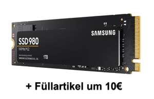 Samsung 980 - 1 TB NVMe SSD (M.2 | bis zu 3.500 MB/s) + 10€ Füllartikel | BESTPREIS