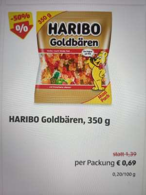 100. DEAL! 50% - HARIBO Goldbären XXL 350 g / Bananen / Champignons etc.