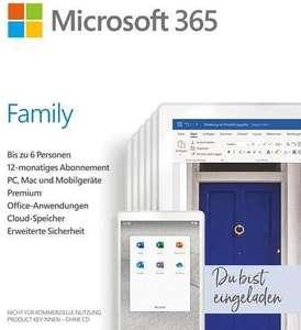 Microsoft 365 Family, 1 Jahr, 6 Nutzer (PC/Mac)