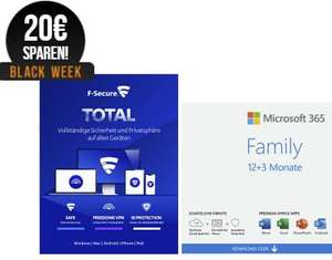 Microsoft 365 Family [6 User] + F-Secure Total [7 Device] - [1 Jahr + 3 Monate extra] 20€ Sparen!