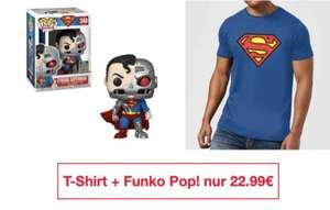 Official Superman Shield Herren T-Shirt + Cyborg Superman SDCC 2020 EXC Pop! Vinyl Figur