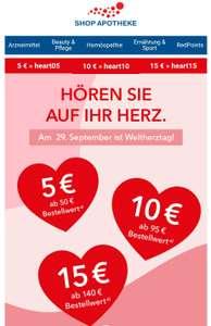 -5€ ab 50€, -10€ ab 100€, -15€ ab 150€ bei Shop Apotheke, zusätzlich ab 59€ MBW gibt es 6500 Red Points in der App