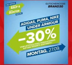 Spare - 30 Prozent nur heute dem 27.09.2021 auf Nike, puma, Adidas und under Amor