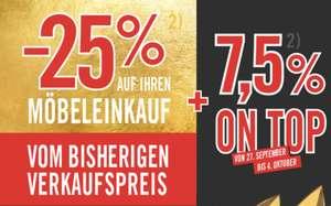 Kika / Leiner: 25% auf Möbel vom bisherigen Verkaufspreis + 7,5% on Top in Form von Gutscheinen