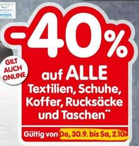 -40% auf alle Textilien, Koffer, Schuhe, Rucksäcke und Taschen 30.9.-02.10. beim Interspar