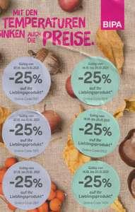 Bipa: 2x 3 25% Rabattsticker auf ein Lieblings Produkt, ab 07.10