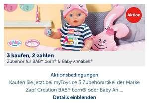 3 Zubehörartikel von Zapf Creation ob BabyBorn oder Annabell der günstigere 3te Artikel Kostenlos