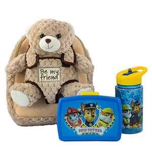 Kinderrucksack Plüschtier Bär Milly, Paw Patrol Brotdose und Trinkflasche in blau