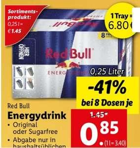 Red Bull Original oder Sugarfree im 8er Tray (6.80€), am 14.10. bei Lidl. 85 cent pro Dose