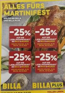 Billa (Plus): 4x 25% Rabattsticker