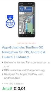 App-Gutschein: TomTom GO Navigation für iOS, Android & Huawei   3 Monate