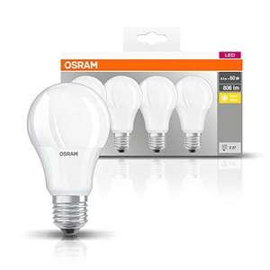 4 Stück Osram LED Base Classic A Lampe 806Lm, 8,5W, E27, Warmweiß 2700 Kelvin (Prime)
