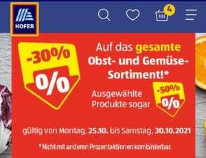 [Hofer] -30% auf das gesamte OBST & GEMÜSE von 25.-30.10 inkl. Salate aus der Coolbox