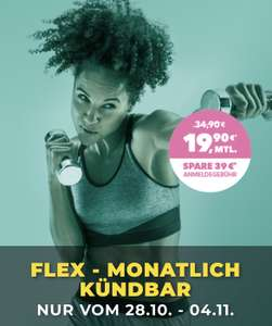 McFit Classic Flex: 19,90€ pro Monat, jederzeit Kündbar + Gratis Aktivierung ab 28.10.