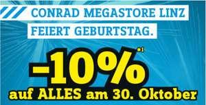 Conrad: Am 30.10.: -10% auf ALLES im Megastore Linz