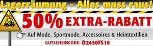 Lagerräumung: 50% Rabatt bei Discount24 auf Mode, Accessoires, Möbel, Spiele und Garten
