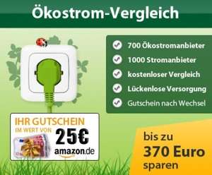 25€ Amazon Gutschein beim Wechsel zu Ökostrom - Gutschein bis 15 Uhr sichern