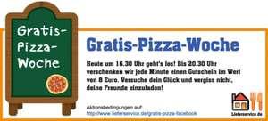 Gratis-Pizza-Woche bei Lieferservice.de - von 16.30 Uhr bis 20.30 Uhr über Facebook
