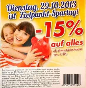 Zielpunkt: Ab 50 € Einkauf 15% Rabatt auf das gesamte Sortiment am 29. Oktober