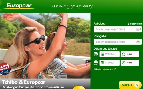 Dank Tchibo PrivatCard: Cabrio übers Wochenende um nur 99 € leihen bei Europcar