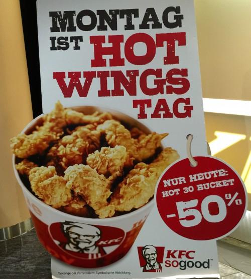 KFC: 30x Hot Wings Bucket für 7 €! - Nur am Montag