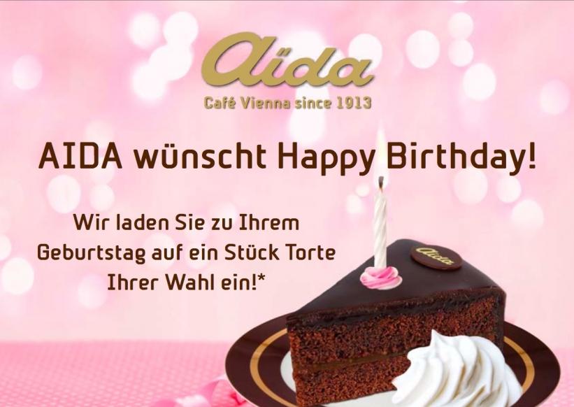 Aida: ein Stück Torte kostenlos zum Geburtstag!