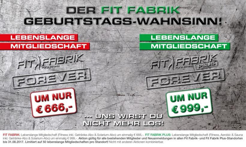 Fit Fabrik: Lebenslange Fitness-Mitgliedschaft ab 666€