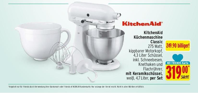 "[Merkur] KitchenAid ""Classic"" weiß für 319€ statt 568,90€"
