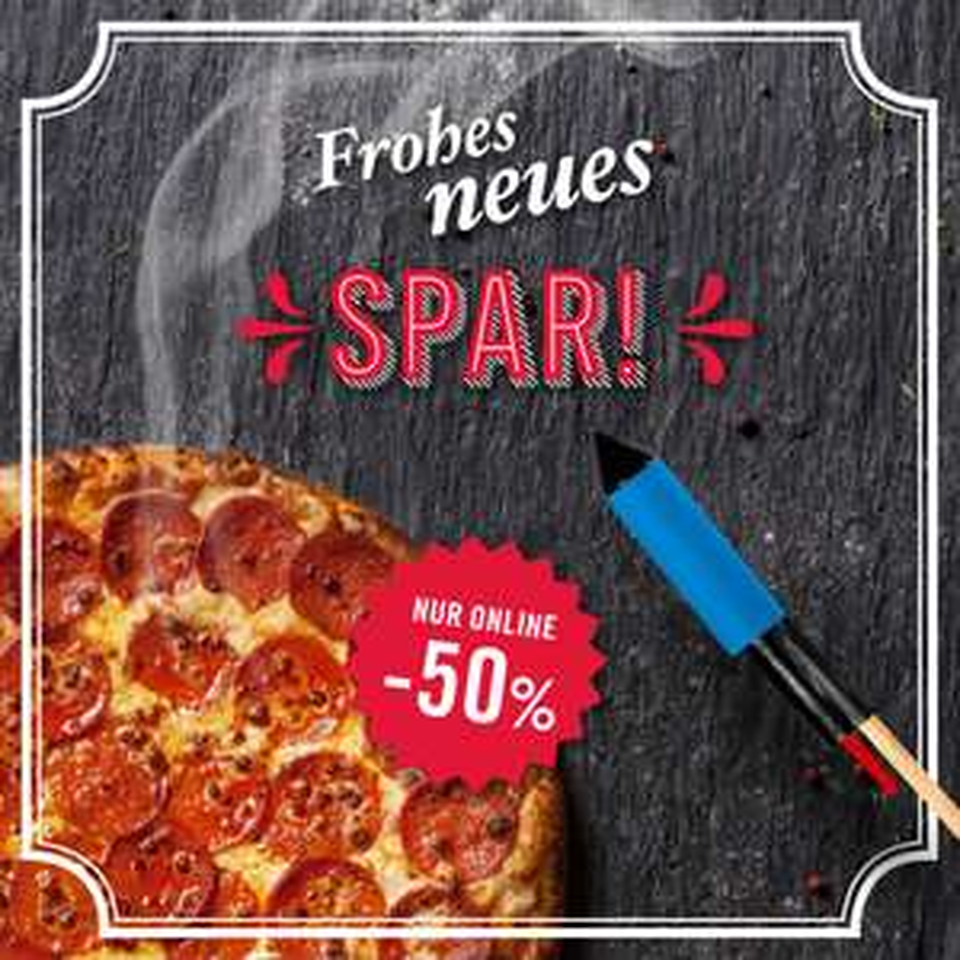 Domino's Pizza: 50% Rabatt auf alle Pizza Bestellungen - nur bis zum 28. Jänner