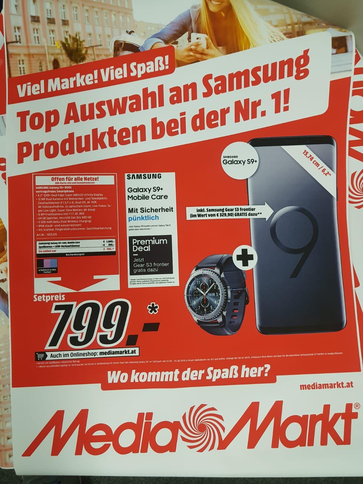 Samsung Galaxy S9+ Angebot + Gear S3 Frontier + Samsung Mobile Care Versicherung !!Nur Media Markt Seiersberg!!