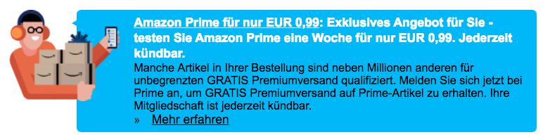 Amazon Prime - eine Woche für 0,99 Euro - für ausgewählte Kunden?
