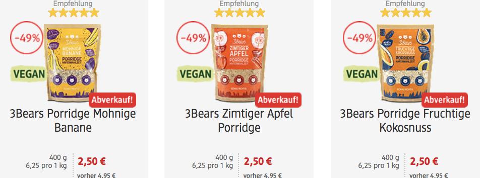 DM: vegane 3Bears Porridge im Abverkauf (drei Sorten á 400g)