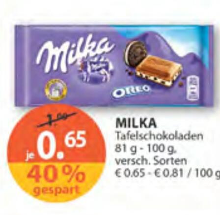 [Müller] Milka Schokolade versch. Sorten um nur 0.65€