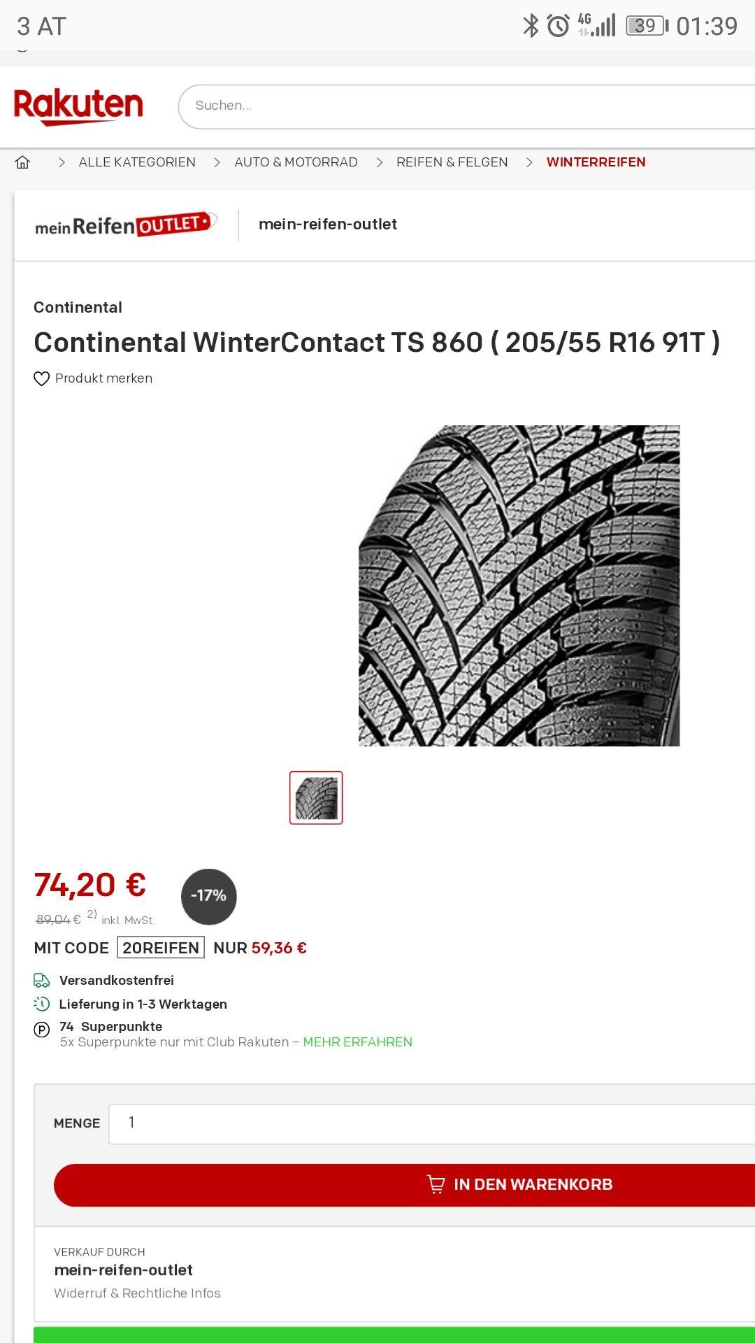 20% extra auf Reifen ! Bestpreis laut Idealo