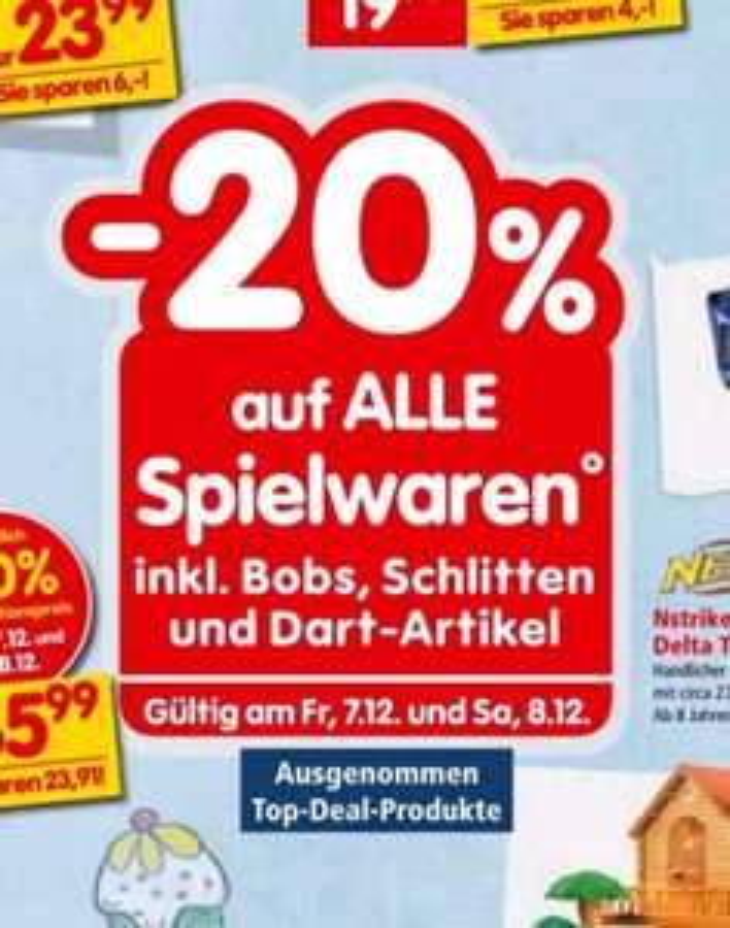 [Interspar] -20% auf alle Spielwaren inkl. Bobs, Schlitten und Dart-Artikel